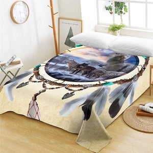 3D Wolf Pack Dream Catcher Flat Sheet - Beddingify