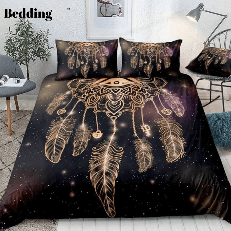 Dreamcatcher with Magic Eye and Feathers Bedding Set - Beddingify