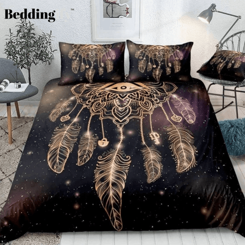 Image of Dreamcatcher with Magic Eye and Feathers Bedding Set - Beddingify