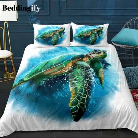 Image of Blue Ocean Turtle Bedding Set - Beddingify