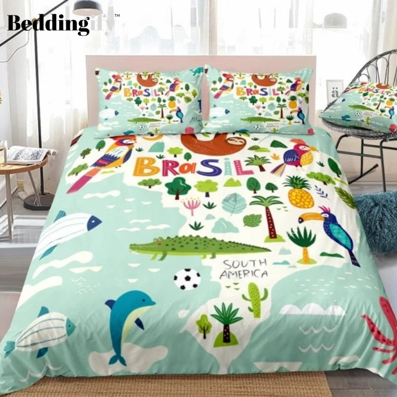 Tropical Brazil Map Bedding Set - Beddingify