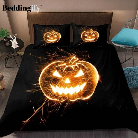 Image of Halloween 3D Pumpkin Lantern Bedding Set
