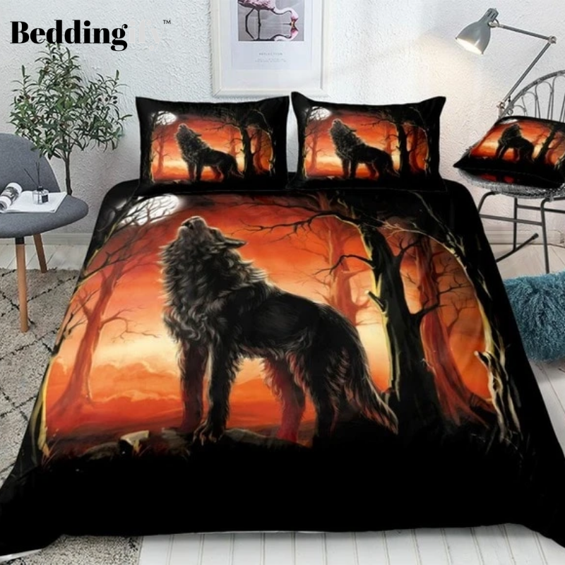 Red Forest Wolf Bedding Set - Beddingify