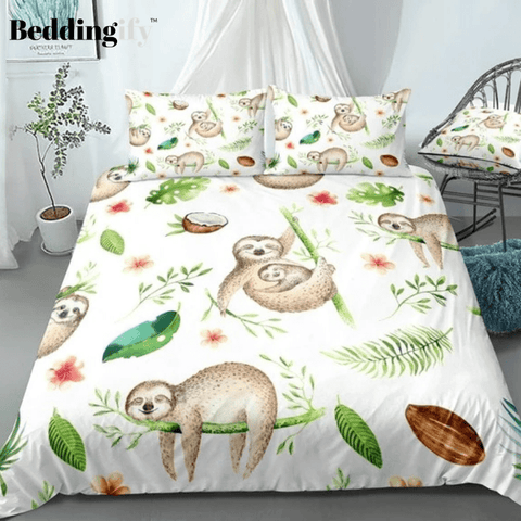Image of Different Forms Cute Sloth Bedding Set - Beddingify