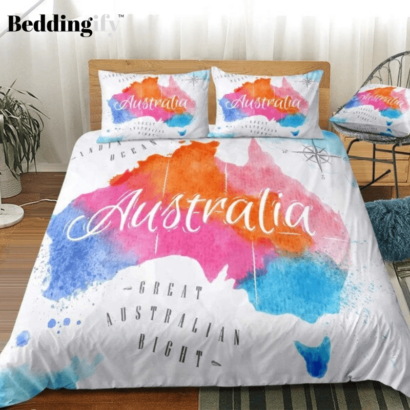 Colorful Watercolor Abstract Australia Map Bedding Set - Beddingify