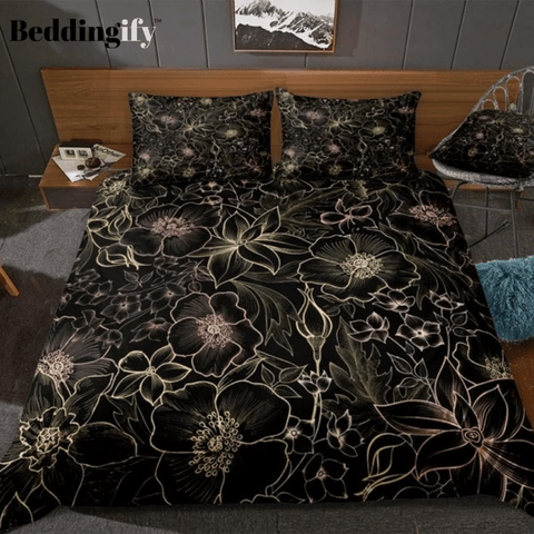 Image of Pink Gold Flowers Bedding Set - Beddingify
