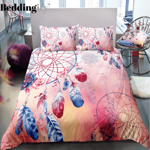 Light Pink Dreamcatcher Bedding Set - Beddingify
