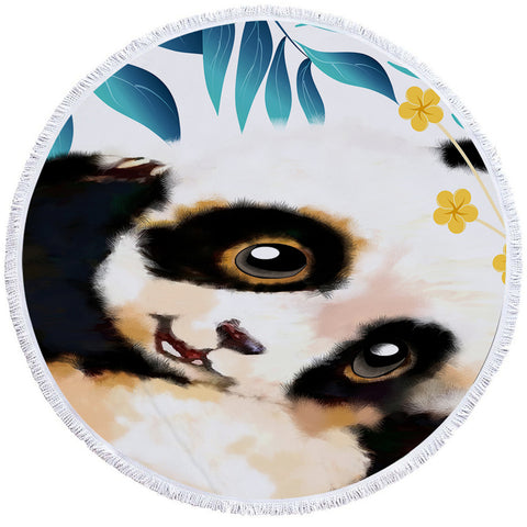 Image of Cute Panda Cub Round Beach Towel Set - Beddingify
