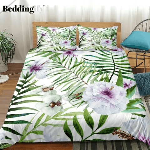 Image of Pretty Flowers with Leaves Bedding Set - Beddingify