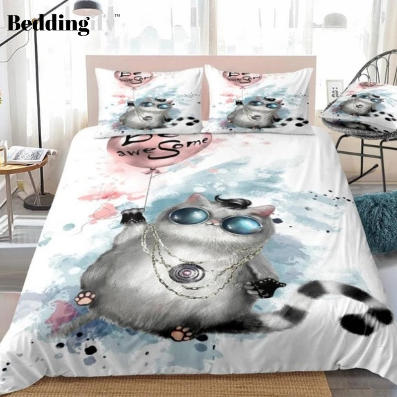 Cute Fat Cat  with Round Glasses Bedding Set - Beddingify