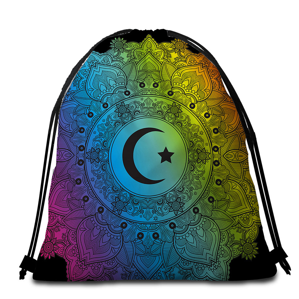 Sun & Moon Mandala Round Beach Towel Set - Beddingify