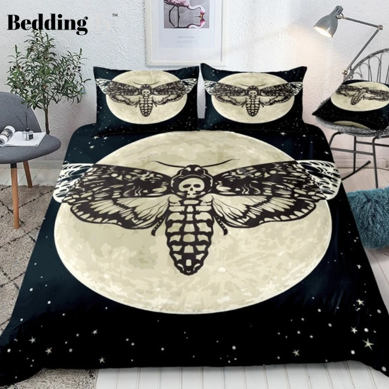 Skull Moth Printed Moon Bedding Set - Beddingify