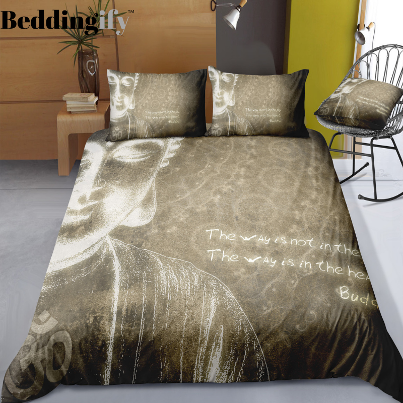 Burgundy Buddha Vintage Background Bedding Set - Beddingify