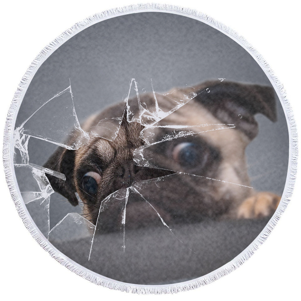 3D Pug Broken Glass Round Beach Towel Set - Beddingify