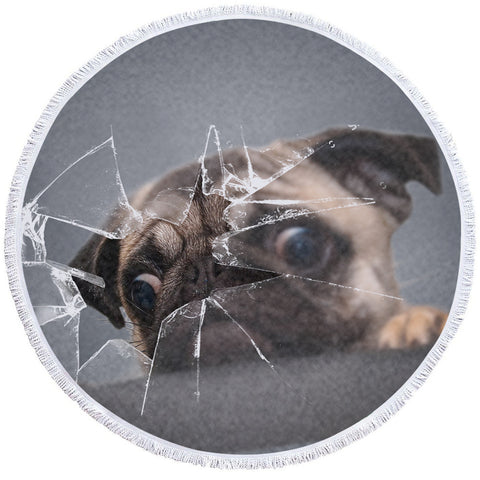 Image of 3D Pug Broken Glass Round Beach Towel Set - Beddingify