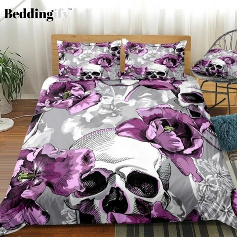 Image of Violet Tulips Flowers and Skulls Bedding Set - Beddingify