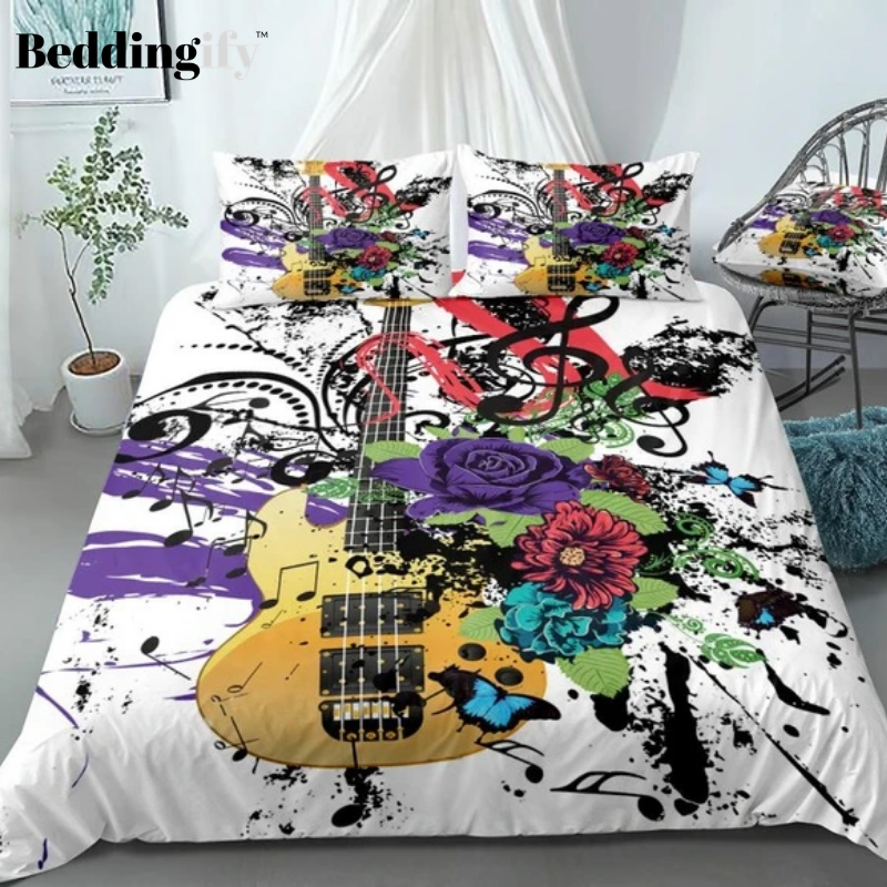 Colorful Guitar Flowers Butterflies Bedding Set - Beddingify