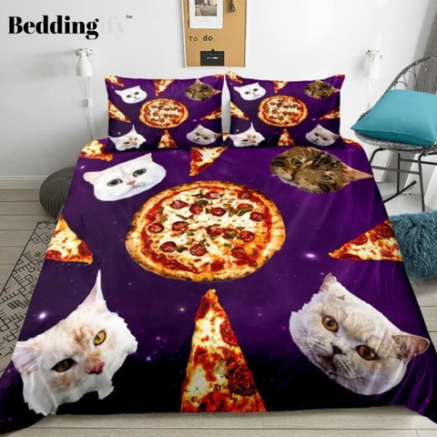 Image of Cats and Pizza in Space Bedding Set - Beddingify