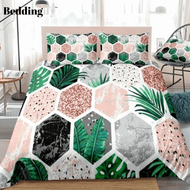 Marble Tropical Leaves Pink Glitter Bedding Set - Beddingify