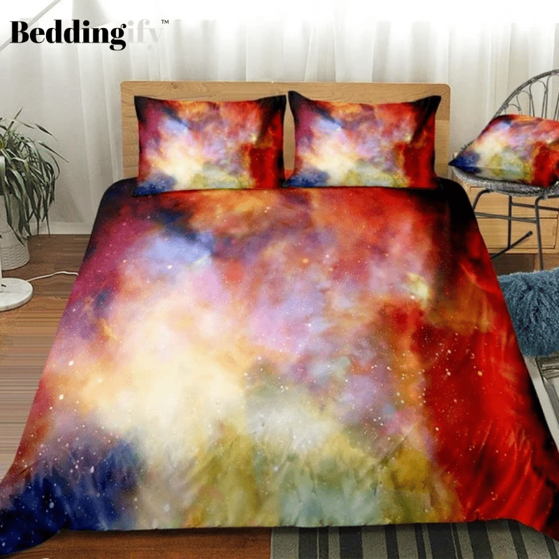 Cosmic Space Stars Colorful Abstract Bedding Set - Beddingify