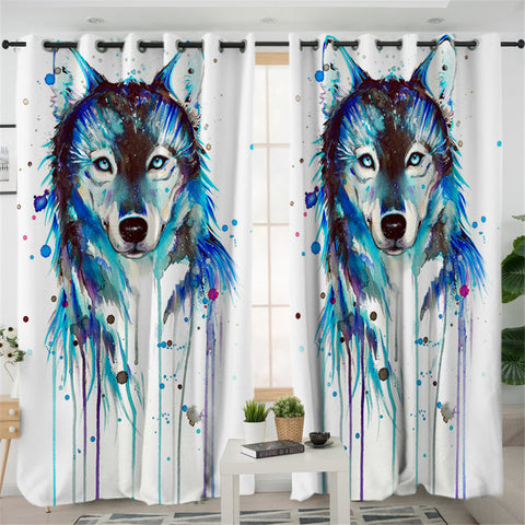 Watercolor Wolf 2 Panel Curtains