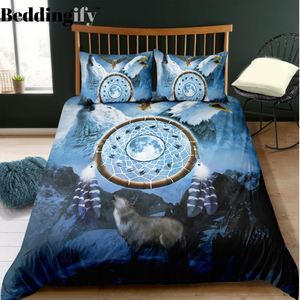 Dreamcathcer Eagle and Wolf Bedding Set