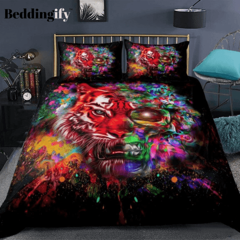 Image of Colorful Skull Tiger Bedding Set - Beddingify