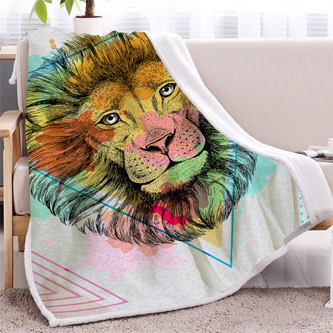 Image of Lion Face Themed Sherpa Fleece Blanket