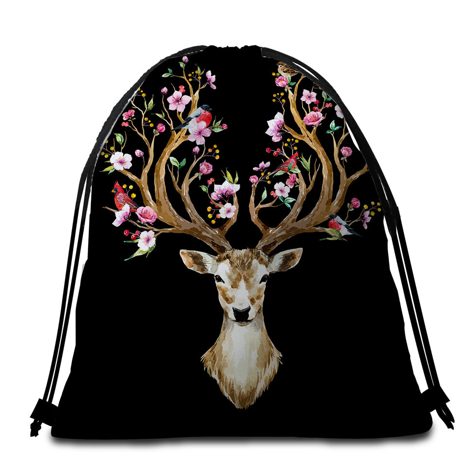Antlers Of Life Black Round Beach Towel Set - Beddingify