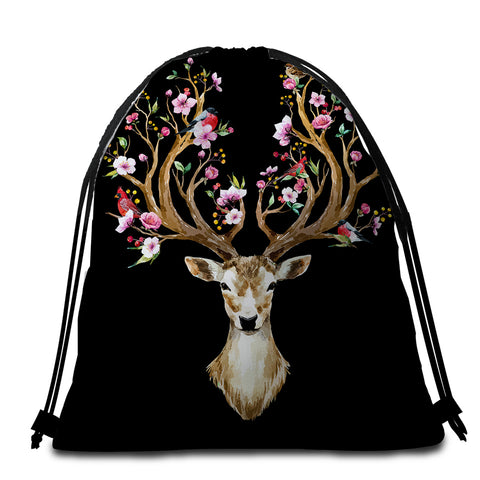 Image of Antlers Of Life Black Round Beach Towel Set - Beddingify