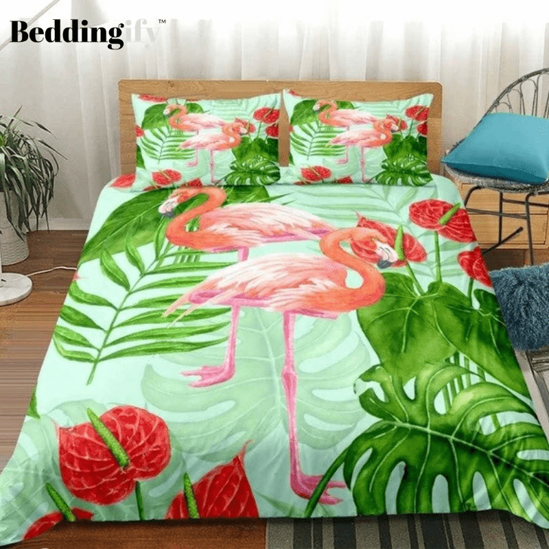 Flamingo Green Plants Bedding Set - Beddingify