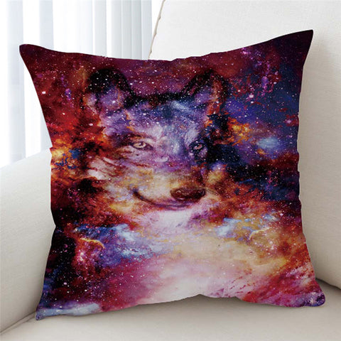 Image of Cosmic Wolf Galaxy Cushion Cover - Beddingify