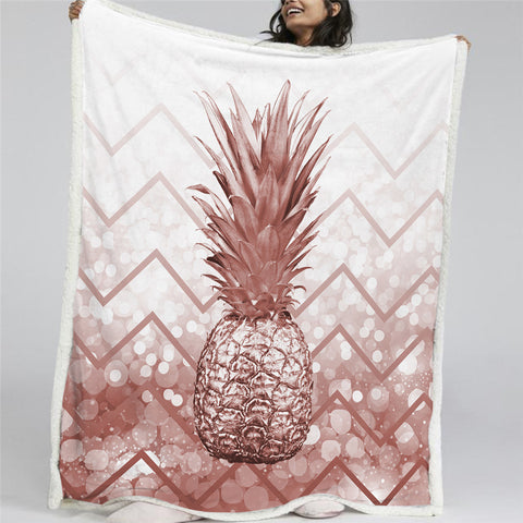 3D Pineapple Sherpa Fleece Blanket - Beddingify