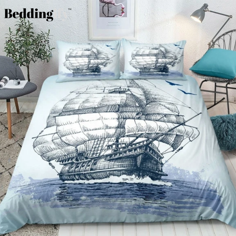 Nautical Decor Sailboat Bedding Set - Beddingify