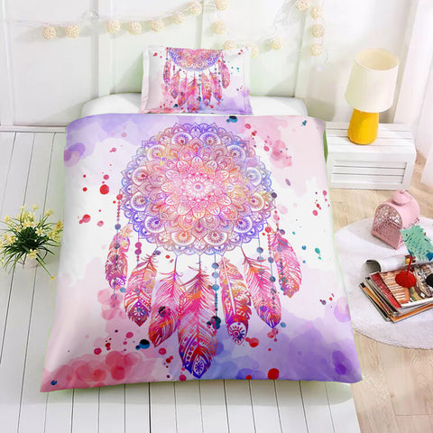 Image of Pink Feather Dreamcatcher Bedding Set - Beddingify