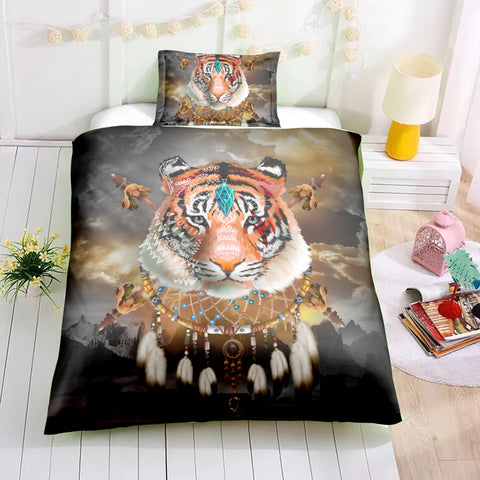 Image of Tribal Dreamcatcher Tiger Bedding Set - Beddingify