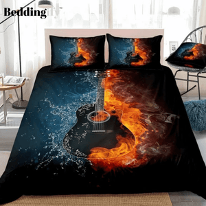 3D Black Guitar on Fire and Water Bedding Set