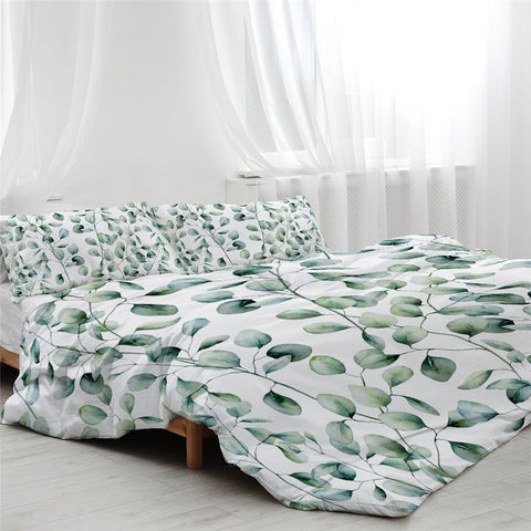 Image of Light Green Branches Bedding Set - Beddingify