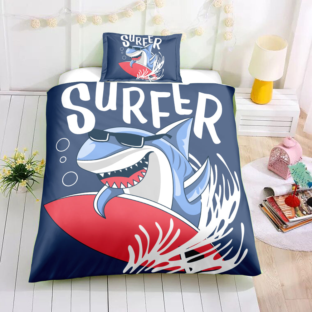 Surfing Shark Bedding Set - Beddingify