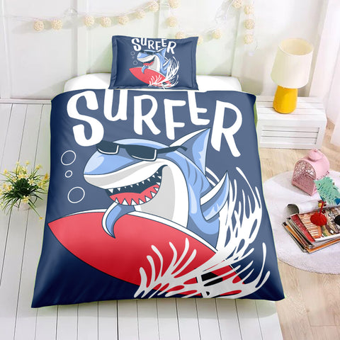 Image of Surfing Shark Bedding Set - Beddingify