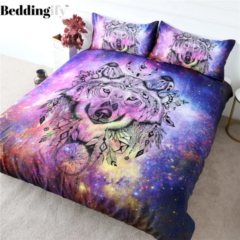 Image of Galaxy Wolf Bedding Set - Beddingify