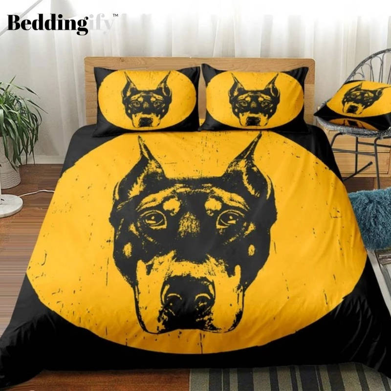 Yellow Black Dog Bedding Set - Beddingify