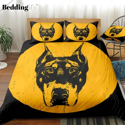 Image of Yellow Black Dog Bedding Set - Beddingify