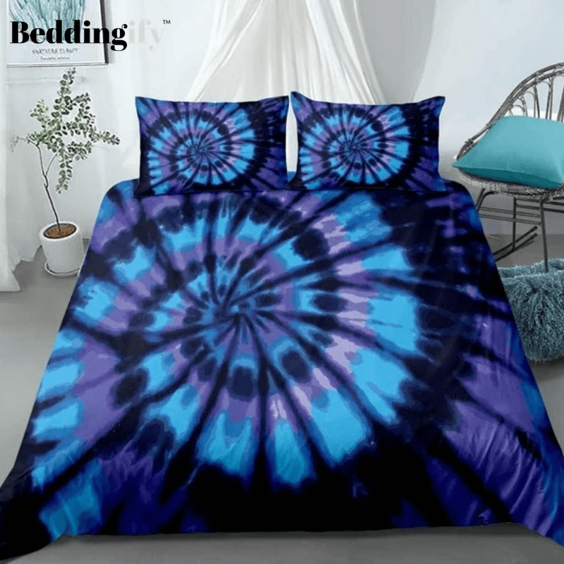 Blue purple Tie-dyed Bedding Set - Beddingify