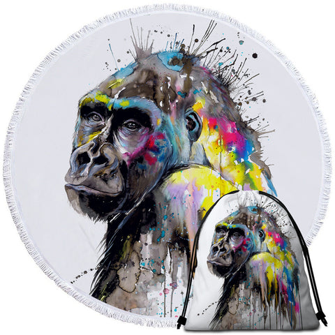 Image of Color Drip Gorilla Round Beach Towel Set - Beddingify