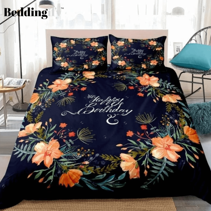 3D Orange Flowers Bedding Set - Beddingify