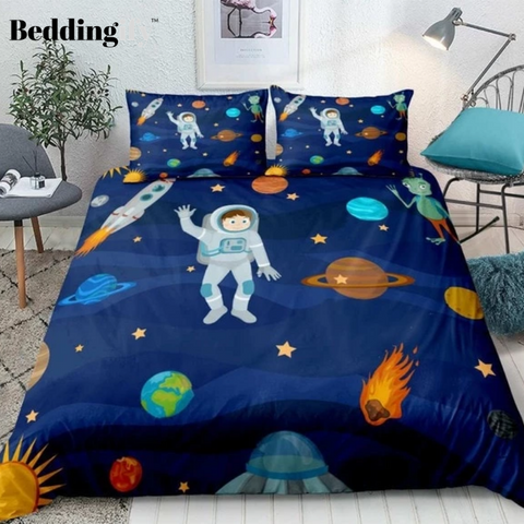 Image of Cartoon Space Astronaut Bedding Set - Beddingify