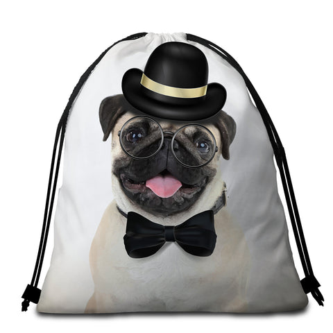 Image of Mister Pug Round Beach Towel Set - Beddingify