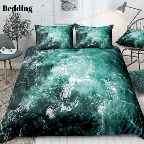 White Foam and Waves Pattern Bedding Set - Beddingify