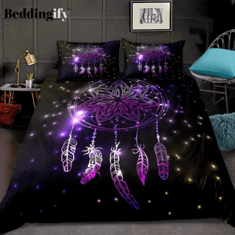 Image of Night Sky with Flashes and Stars Dreamcatcher Bedding Set - Beddingify